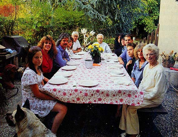 Family Photo, From Left to Right: Nikki the dog, Fawn Agapoff, Anne Jamieson, Mark Mancini, Dawn Mancini, Robert Barberis, Rudy Mancini (center), Patsy Barberis, Debbie Barberis, Buddy Barberis, James Agapoff, Lois Barberis, Patricia Barberis.